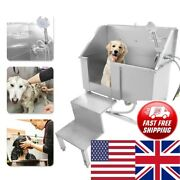 34 Stainless Steel Pet Dog Cat Bathing Wash Shower Grooming Bath Tub W/stairs