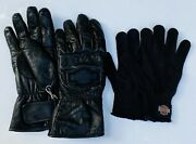 Harley Davidson Motorcycles Black Leather Riding Gloves Women's Medium + Liners