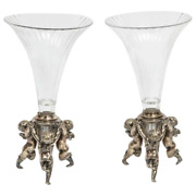 French Silvered Bronze And Cut Glass Trumpet Vases Attributed To Baccarat