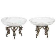 French Silvered Bronze And Cut Glass Pair Of Tazza Centerpieces Attributed To Ba