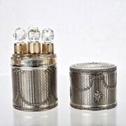 Antique French Gilt Sterling Silver Crystal Perfume Bottle Case 4pc Gold Ball