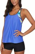 Aleumdr Womens Blouson Striped Printed Strappy T-back Push Up Tankini Top With S