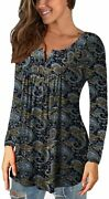 A.jesdani Womens Plus Size Tunic Tops Long Sleeve Casual Floral Henley Shirts
