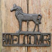 Vintage Cast Iron Rustic Horse Welcome Signs House Handmade Retro Home Garden