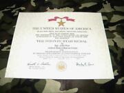 Bronze Star Medal Replacement Certificate On 24 Lb. Parchment Paper Ships Free