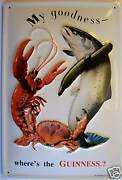Guinness Fish And Lobster Tin Sign Shield 3d Embossed 7 7/8x11 13/16in