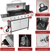 Bbq Propane Grill Sear Side Burners Cabinet Style Stainless Steel Gas Griller