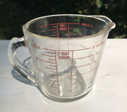 Vintage Pyrex Glass 2 Cups 1 Pint Measuring Cup Red Lettering Antique