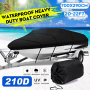 Waterproof Trailerable Boat Cover V-hull Fish Runabout 11-13/14-16/17-19/20-22ft