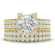 2.03ct E-si1 Diamond Pave Engagement Ring 14k Yellow Gold Any Size