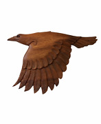 Viking Inspired Wooden Hand Carved Flying Eagle Wall Hanging   Halloween Decor