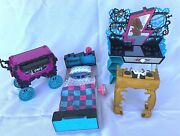 Monster High Doll Furniture And Accessories Lot Of 4 Pcs Bed Cafe Lounge Vanity