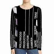 New Womenand039s Longsleeve Tshirt Hollywood Clapboard Design Tee Size S To 3xl