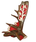 Moose Antler Art Carving Duck Grouping Hand Crafted Large Table Top Gift Fathers
