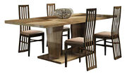 Picasso Modern 7-piece Dining Room Set In Brown And Beige