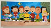 Rare Peanuts Painting All Characters Large Original Art Swept Oil On Canvas New