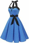 Dressystar Vintage Polka Dot Retro Cocktail Prom Dresses 50and039s 60and039s Rockabilly Ba