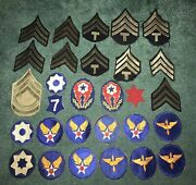 Original Lot Of 29 Wwii Us Army Patches And Rank Stripes