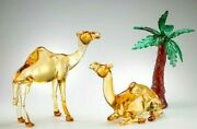 Sculpture In Murano Glass Figurines 13 13/16in Made Italy Shapes 2 Camels Palm