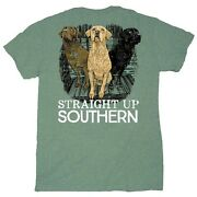 Men's Straight Up Southern Three Dogs Green Round-neck Short-sleeve T-shirts