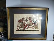 Signed And Framed Egyptian Papyrus Hand Painted