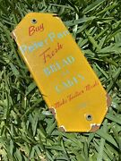 Vintage Peter Pan Fresh Bread And Cakes Porcelain Metal Sign Gas Grocery Store Usa