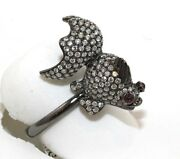 Natural Round Diamond And Ruby Black Fish Cluster Ring 18k White Gold 2.37ct