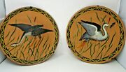 Galloway And Graff Phila. Pair Of Terracotta Hand Painted Pottery Plates Signed