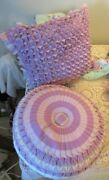 Pair Of Vintage Lavender Throw Pillows Ruched And Pleated Mid Century