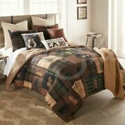 Country Primitive Reversible Brown Bear Cabin Donna Sharp Comforter Collection