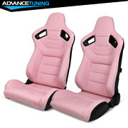 Reclinable Pair Racing Seats + Dual Slider Pink Puandcarbon Leather Back