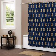 Skl Home By Saturday Knight Ltd. Gilded Pineapple Fabric Shower Curtain Navy/go