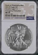 2021 P 1 American Silver Eagle Ngc Ms70 Emergency Production