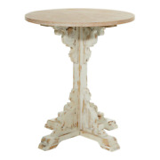 26 In. X 29 In. Antique White Small Round Wood End/side Table With Bastille Base