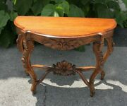 19th Century Carved Semicircular French Console Table Solid Walnut