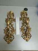 2 Plastic Gold Tone Plastic Hollywood Regency Style Candle Wall Sconces