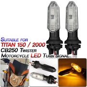 2xmotorcycle Led Turn Signal Lights Lamps Side Indicator For Titan 150 Tit O1f5