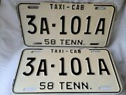 Vintage 1958 Tennessee Taxi Cab License Plate Pair