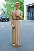 + Nice Older Wood Carved Statue Of St. Joseph 48 Ht. + Cu300 Chalice Co