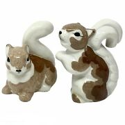 Vtg Early Kay Finch Pair Of Ceramic Squirrel Figurines