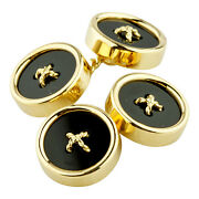 18k Or Jaune And Co.vintage Onyx Bouton Boutons Manchette Great Condition