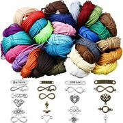 328 Yards 30 Colors 1mm Waxed Polyester Twine Cord And 50 Pieces Mixed
