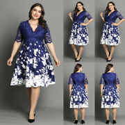 Plus Size Womens Lace Floral Midi Dress Ladies Evening Party Cocktail Prom Gown