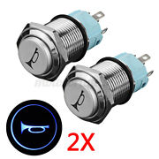 2pcs 16mm Momentary Red Led Marine Car Truck Boat Horn Push Button Light Switch