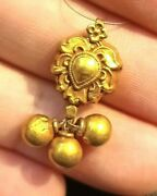 Antique Amulet 1800s Fine Collection Solid 22k Gold Angel Heart Pyu Bell Pendant