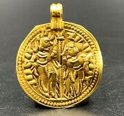 Vintage Currency Old Antique Gold Coin Pendant Jewelry 15 Century Ad Light Weigh