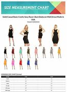 Womenand039s Solid Casual Basic Comfy Sexy Racer-back Bodycon Midi Dress/made In Usa