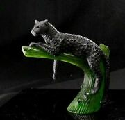 Daum Black Panther On Green Tree 05027-4 New Brand French Crystal Decor France