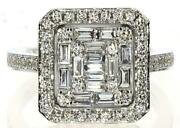 Large .94ct Diamond 18k White Gold Round And Baguette Cluster Halo Square Fun Ring