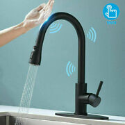 Sensor Touch Smart Kitchen Faucet With Pull Out Spray Stainless Steel W/cover